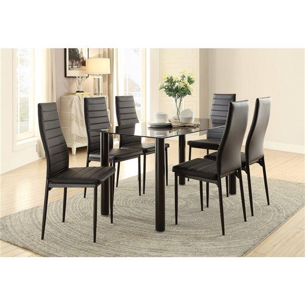 Ensemble de salle à manger Florian de Mazin Industries, rectangulaire, noir, 7 pièces