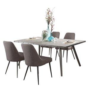 Ensemble de salle à manger Palladium de HomeTrend, rectangulaire, gris, 7 pièces