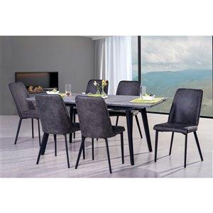 Ensemble de salle à manger Arabica de HomeTrend, rectangulaire, gris, 7 pièces