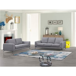 HomeTrend Appleby Contemporary Polyester/Polyester Blend Living Room Set - Light Gray - 2-Piece