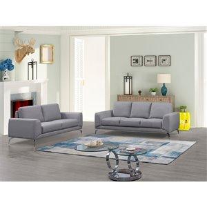 Ensemble de salon contemporain Appleby de HomeTrend, polyester/mélange de polyester, gris clair, 2 mcx