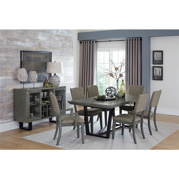 Ensemble de salle à manger Avenhorn de Mazin Industries, rectangulaire, gris, 7 pièces