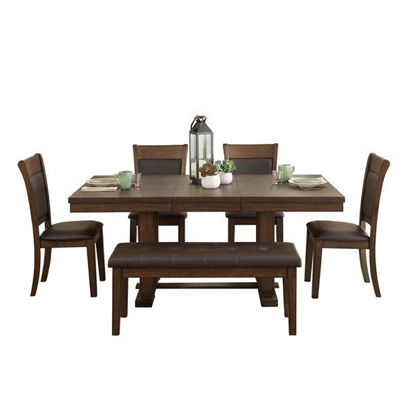 Mazin Industries Wieland Dining Set With Rectangular Table Brown 6 Piece 5614 72dr6 Rona