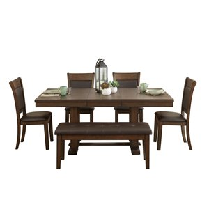 Mazin Industries Wieland Dining Set with Rectangular Table - Brown - 6-Piece