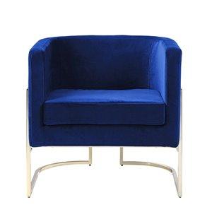 Chaise d'appoint mi-siècle en velours Betto de HomeTrend, bleu marine