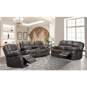 HomeTrend Klaus Contemporary Microfibre Living Room Set - Antique Gray - 3-Piece