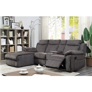 Mazin Industries Provost Casual Gray Faux Leather Sectional