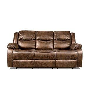 HomeTrend Klaus Chic Antique Brown Microfiber Sofa