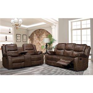HomeTrend Klaus Contemporary Living Room Set - Antique Brown - 2-Piece