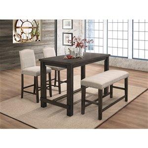 HomeTrend Bartell Dining Set with Rectangular Table - Dark Espresso - 4-Piece