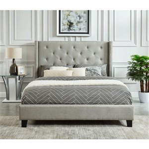 Mazin Industries Lisa Queen-Size Gray Upholstered Bed