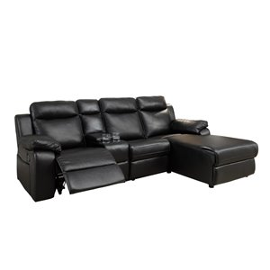 HomeTrend Provost Casual Black Faux Leather Sectional