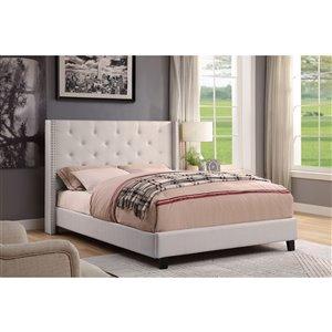 HomeTrend Lisa Queen-Size Beige Upholstered Bed