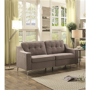 HomeTrend Lilliana Modern Medium Gray Microfiber Sofa