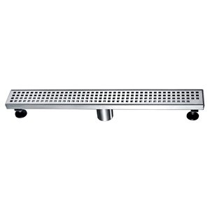 Towo Linear Shower Drain - Square Grid - 24-in x 3-in - Stainless Steel