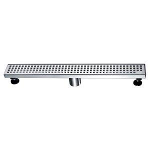 Drain de douche linéaire Towo, avec grille carrée, 24 po x 3 po, acier inoxydable