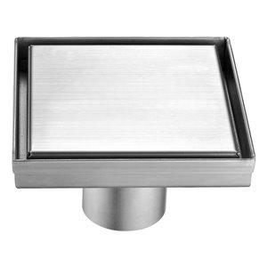 Drain de douche carré Towo, avec grille pleine, 5 3/32 po x 5 3/32 po, acier inoxydable