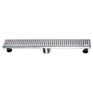 Drain de douche linéaire Towo, avec grille carrée, 36 po x 3 po, acier inoxydable