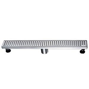 Drain de douche linéaire Towo, avec grille carrée, 47 po x 3 po, acier inoxydable