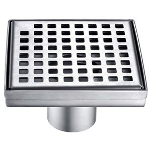 Towo Square Shower Drain - Square Grid - 5 3/32-in x 5 3/32-in - Stainless Steel