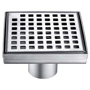 Drain de douche carré Towo, avec grille carrée, 5 3/32 po x 5 3/32 po, acier inoxydable