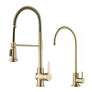 Kraus Kitchen Faucet with Water Filter - Antique Champagne Bronze