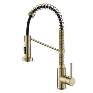 Kraus Single Handle Faucet with Pull-Down Sprayhead - Antique Champagne Bronze