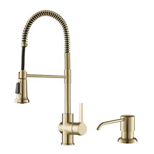 Kraus Faucet with Deck Plate and Soap Dispenser - Antique Champagne Bronze