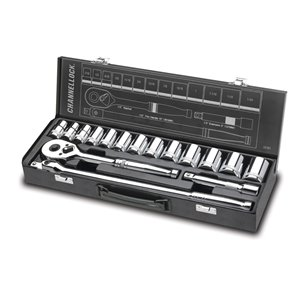 Channellock Professional 16-Piece Standard (SAE) 1/2-in 6-Point Set Shallow Socket Set