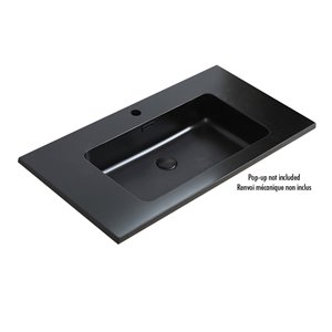 Akuaplus ELLA Single Hole Bathroom Sink - 35.5-in x 18.9-in - Matte Black