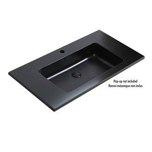 Lavabo de salle debain monotro ELLA d'Akuaplus, 35,5 po x 18,9 po,  noir mat