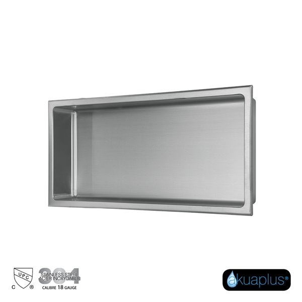 Akuaplus Bath Shower Niche - 12-in x 24-in - Polished Stainless Steel