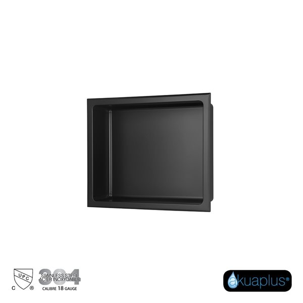 Akuaplus Bath Shower Niche - 12-in x 14-in - Stainless Steel - Matt Black