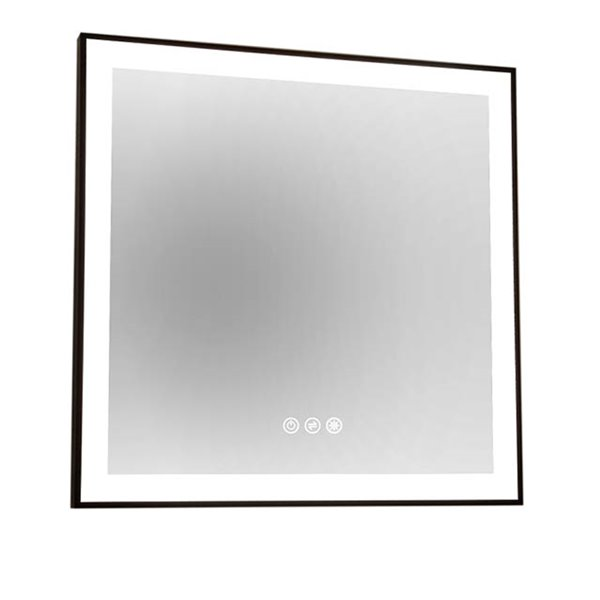 Akuaplus LEA Mirror with LED Light -  30-in x 30- in - Matt Black