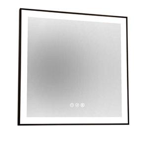 Miroir LEA d'akuaplus avec lumière DEL, 30 po x 30 po, noir mat