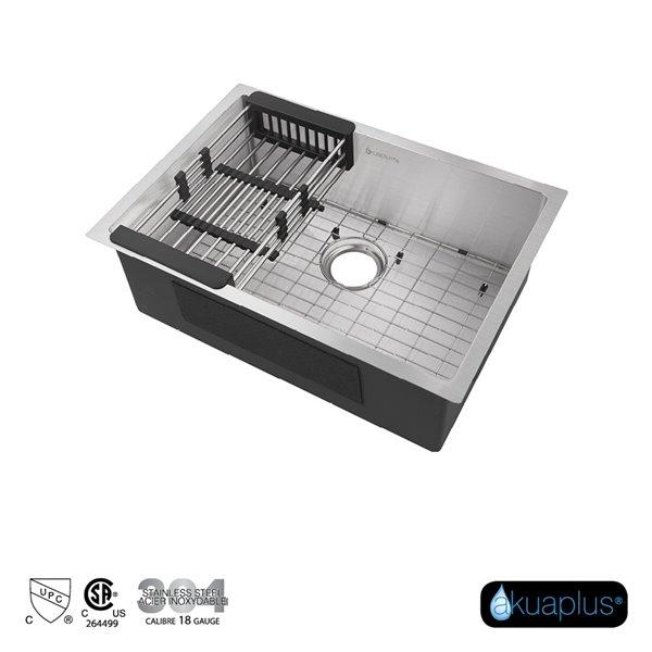 Évier de cuisine encastré simple FIONA d'Akuaplus, 26 po x 18 po, acier inoxydable