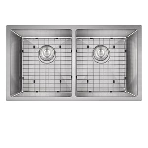 Akuaplus MARA Double Undermount Kitchen Sink - 32-in x 18-in - Stainless Steel