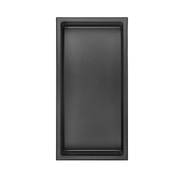 Akuaplus Bath Shower Niche - 12-in x 24-in - Stainless Steel - Matt Black
