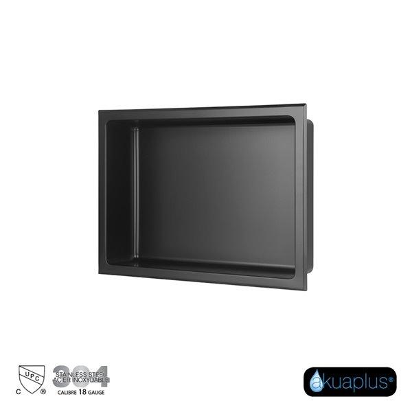Akuaplus Bath Shower Niche - 12-in x 16-in - Stainless Steel - Matt Black