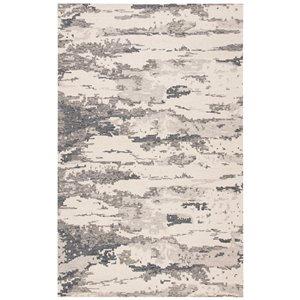 Tapis décoratif rectangulaire Abstract de Safavieh, fait à la main, 5 pi x 8 pi, charbon/ivoire