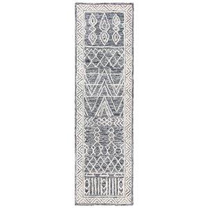 Safavieh Abstract Rectangular Runner - Handcrafted - 2.3-ft x 8-ft - Black/Ivory