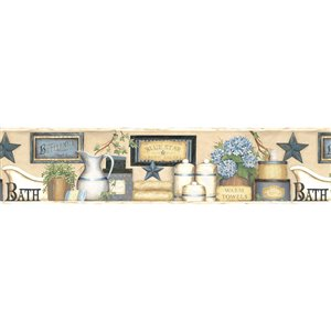 Chesapeake Martha Country Bath Prepasted Wallpaper Border - 6-in - Blue and Beige
