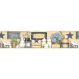 Bordure de papier peint encollée Martha Chesapeake, bain de campagne, 6 po, bleu et beige