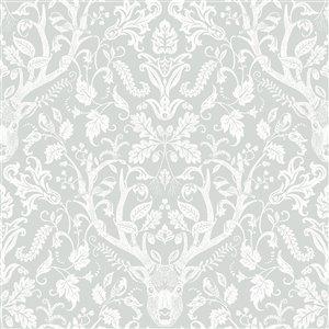 Papier peint encollé Birch & Sparrow par Chesapeake, 56,4 pi², gris