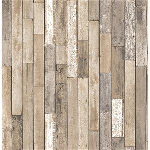 Papier peint non encollé et non tissé Barn Board Essentials par Brewster, 56,4 pi², brun