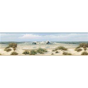 Bordure de papier peint encollée Chesapeake, dunes de Falmouth, 6 po, beige