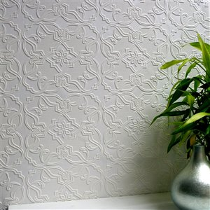 Brewster Anaglypta X Maxwell Unpasted Vinyl Wallpaper - Paintable - 57.5-sq. ft. - White