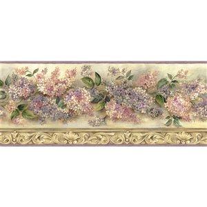 Bordure de papier peint encollée Chesapeake, héritage de lilas, 7,75 po, rose