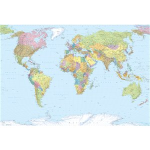 Peinture murale carte du monde Komar, non encollée, 98 po x 145 po