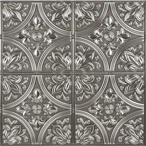Tuile auto-adhésive au motif abstrait de InHome, 20 po x 20 po, argent, 4 pièces